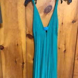 Miguelina turquoise flowy dress with stone